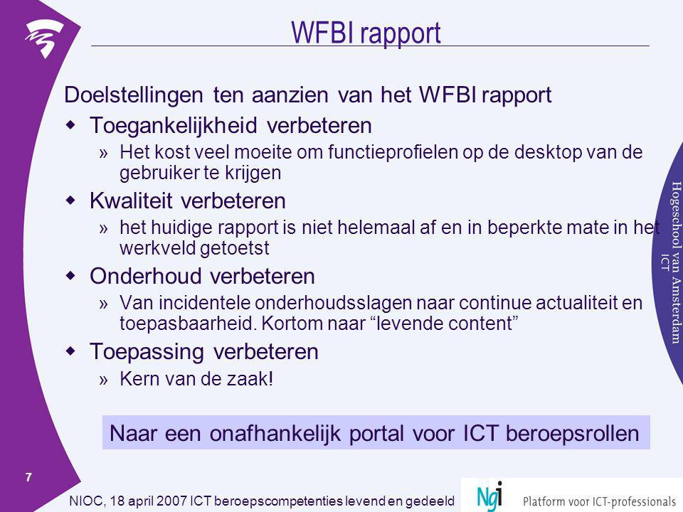 WFBI rapport Doelstellingen ten aanzien van het WFBI rapport