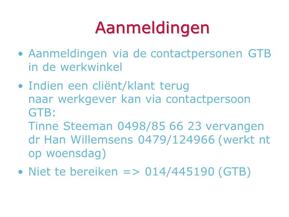 Aanmeldingen Aanmeldingen via de contactpersonen GTB in de werkwinkel