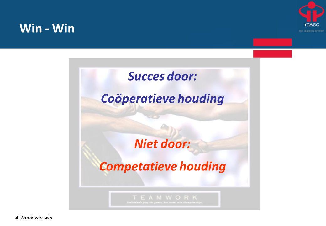 Succes door: Coöperatieve houding Niet door: Competatieve houding