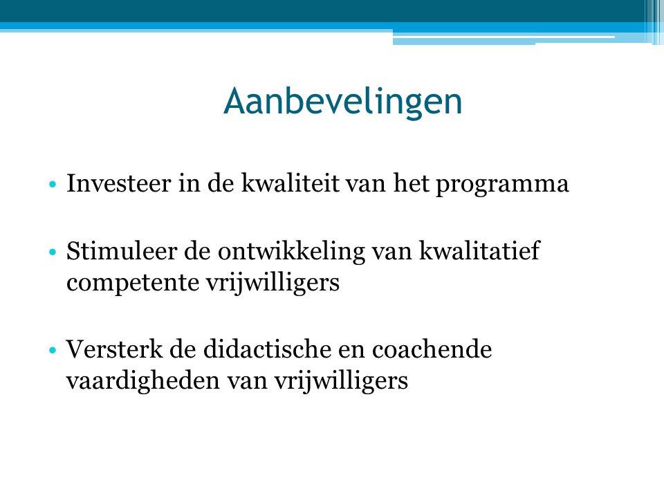Aanbevelingen Investeer in de kwaliteit van het programma
