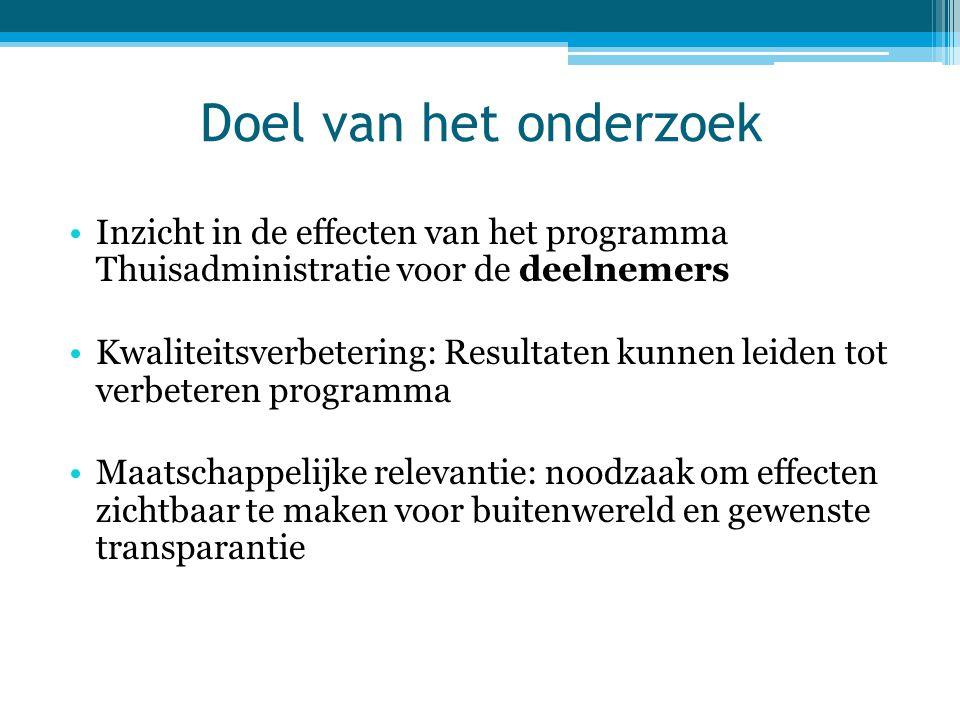 Doel van het onderzoek Inzicht in de effecten van het programma Thuisadministratie voor de deelnemers.