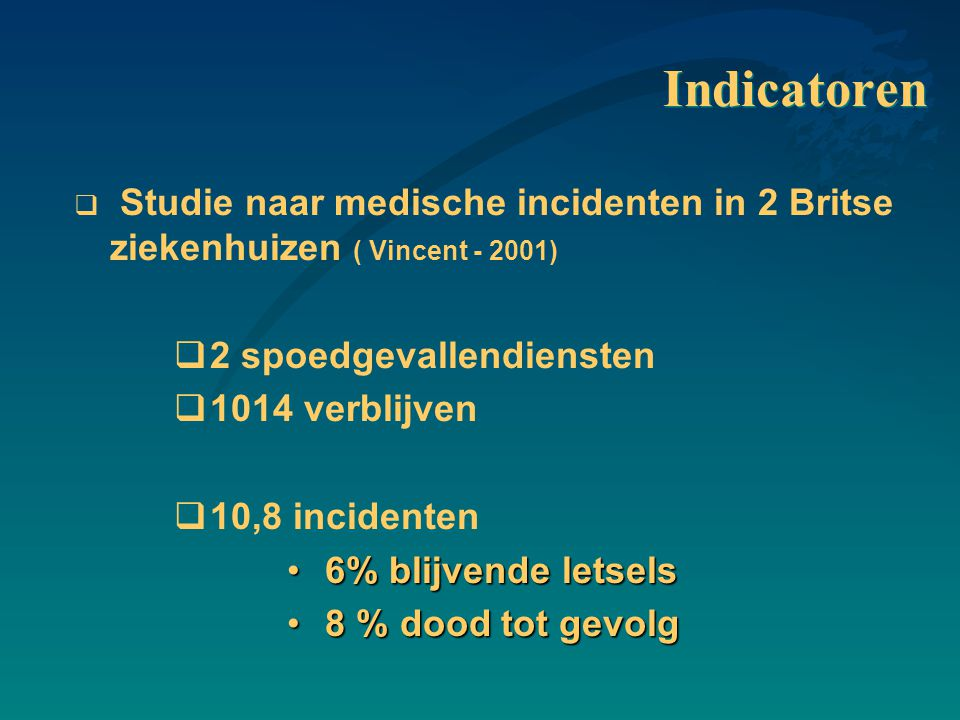 Indicatoren Studie naar medische incidenten in 2 Britse ziekenhuizen ( Vincent - 2001) 2 spoedgevallendiensten.