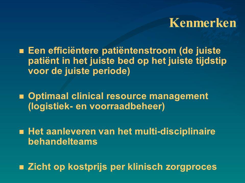 Kenmerken Een efficiëntere patiëntenstroom (de juiste patiënt in het juiste bed op het juiste tijdstip voor de juiste periode)