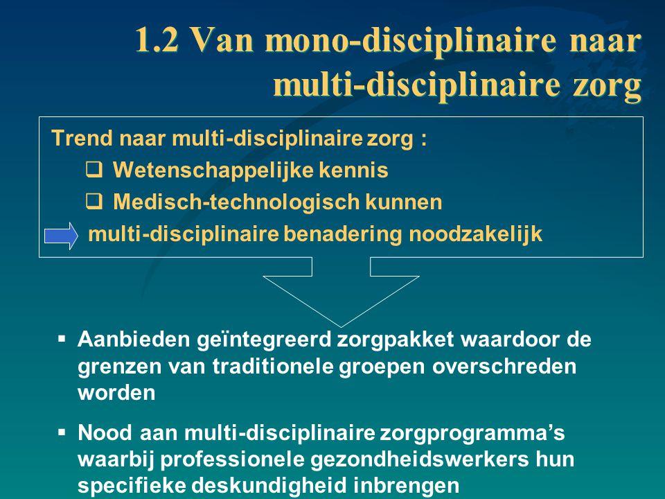 1.2 Van mono-disciplinaire naar multi-disciplinaire zorg