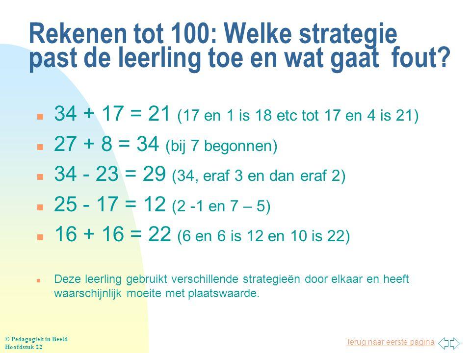 Rekenen tot 100: Welke strategie past de leerling toe en wat gaat fout