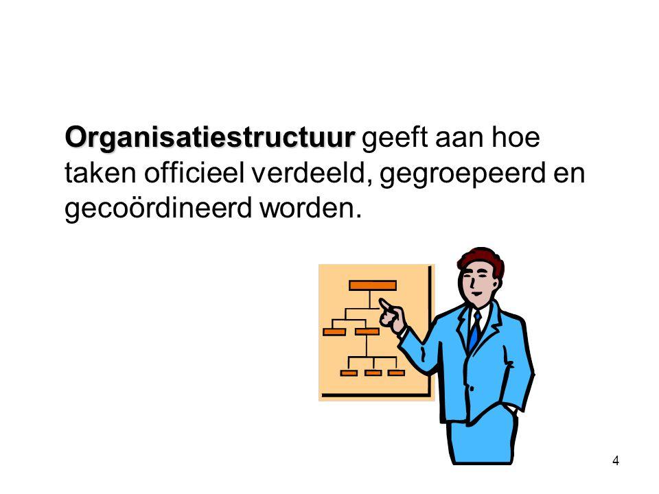 Organisatiestructuur geeft aan hoe taken officieel verdeeld, gegroepeerd en gecoördineerd worden.