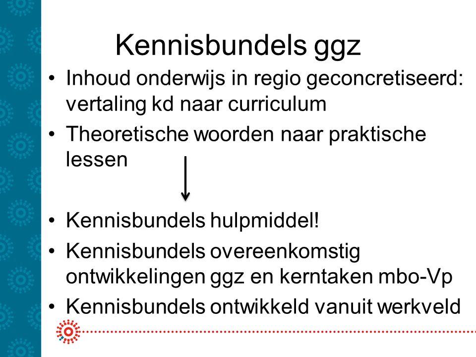 Kennisbundels ggz Inhoud onderwijs in regio geconcretiseerd: vertaling kd naar curriculum. Theoretische woorden naar praktische lessen.
