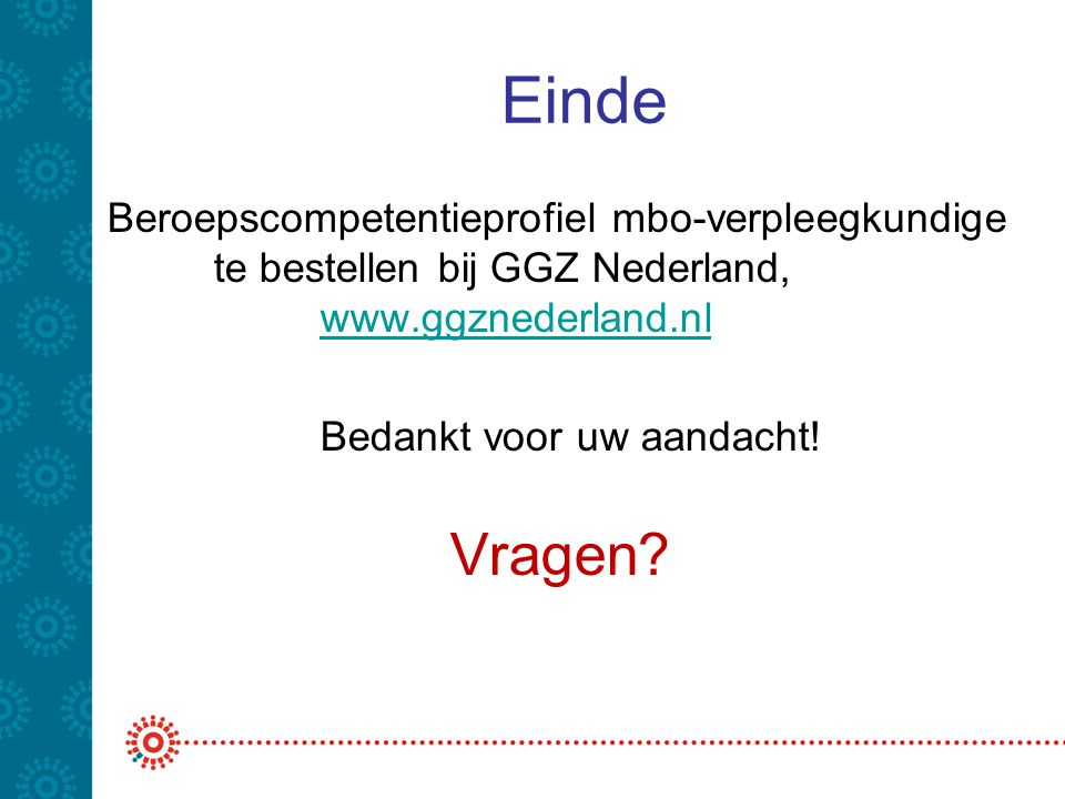 Einde Beroepscompetentieprofiel mbo-verpleegkundige te bestellen bij GGZ Nederland, www.ggznederland.nl.