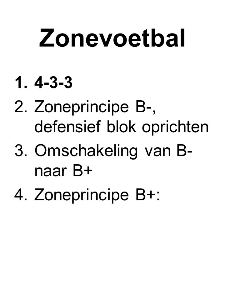Zonevoetbal Zoneprincipe B-, defensief blok oprichten