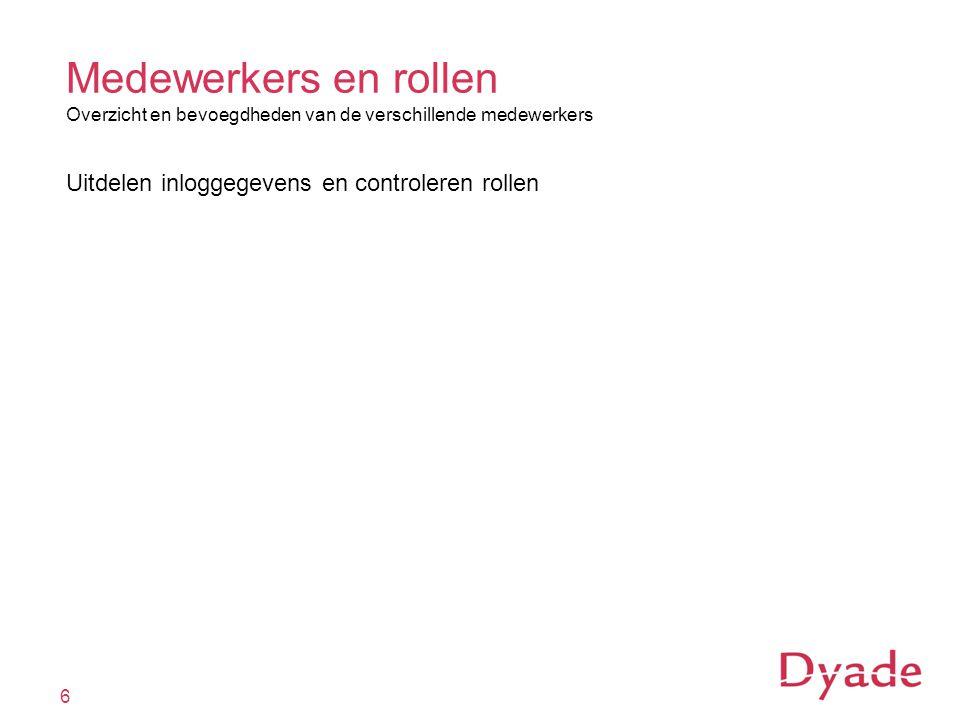 Medewerkers en rollen Overzicht en bevoegdheden van de verschillende medewerkers