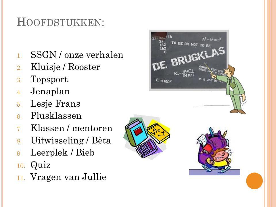 Hoofdstukken: SSGN / onze verhalen Kluisje / Rooster Topsport Jenaplan