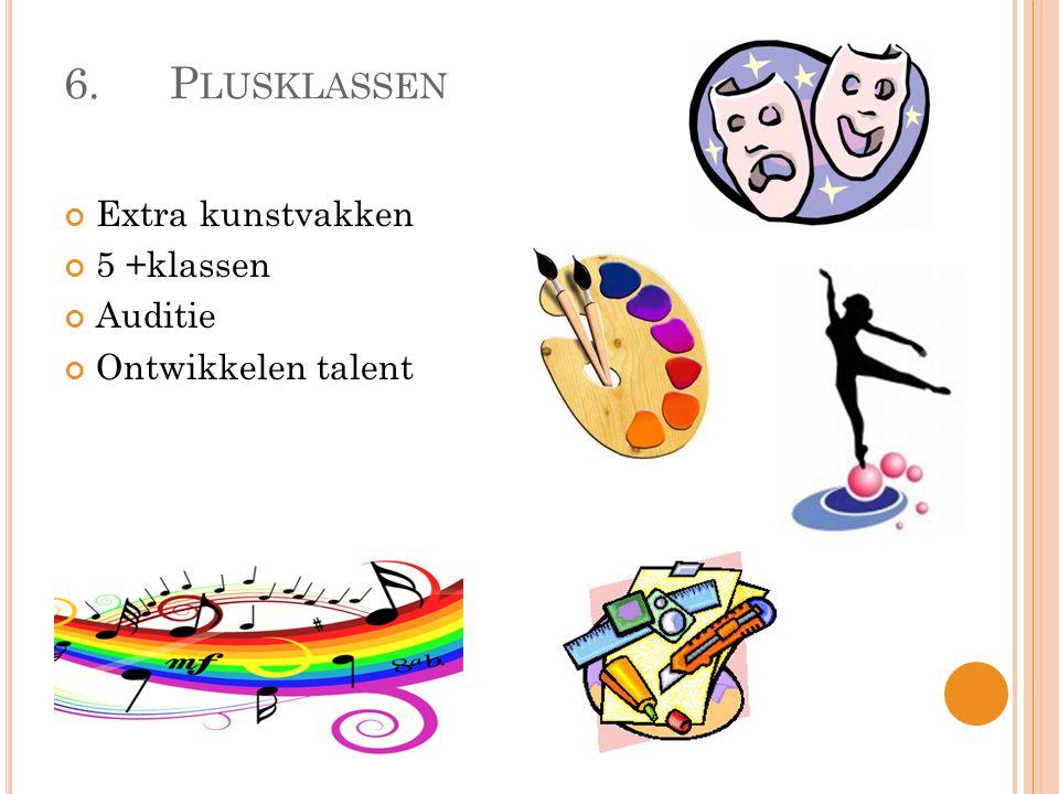 6. Plusklassen Extra kunstvakken 5 +klassen Auditie Ontwikkelen talent