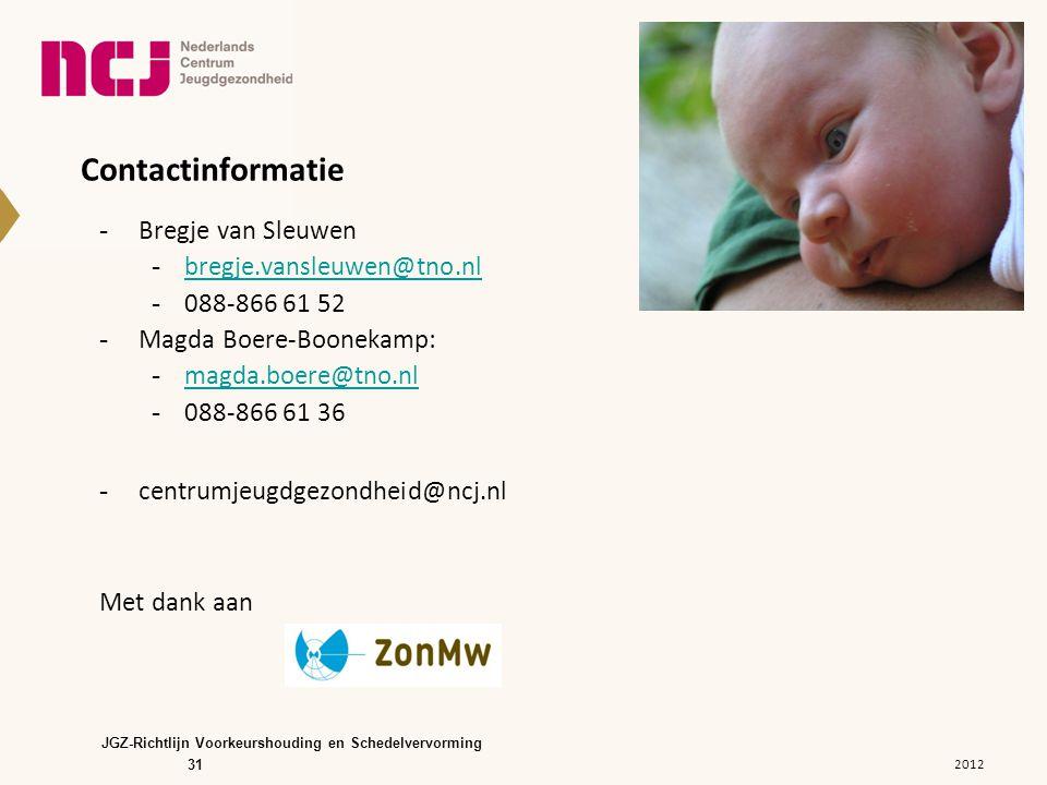 Contactinformatie Bregje van Sleuwen. bregje.vansleuwen@tno.nl. 088-866 61 52. Magda Boere-Boonekamp:
