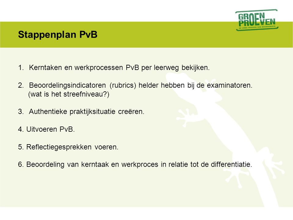 Stappenplan PvB Kerntaken en werkprocessen PvB per leerweg bekijken.