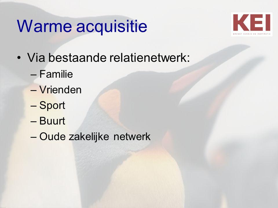 Warme acquisitie Via bestaande relatienetwerk: Familie Vrienden Sport