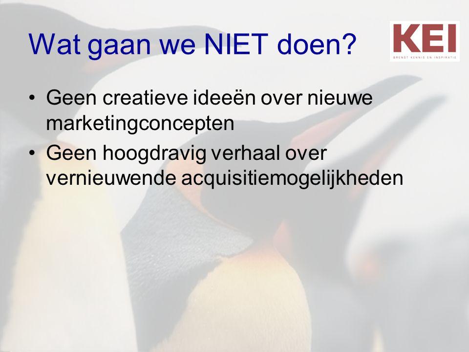 Wat gaan we NIET doen. Geen creatieve ideeën over nieuwe marketingconcepten.