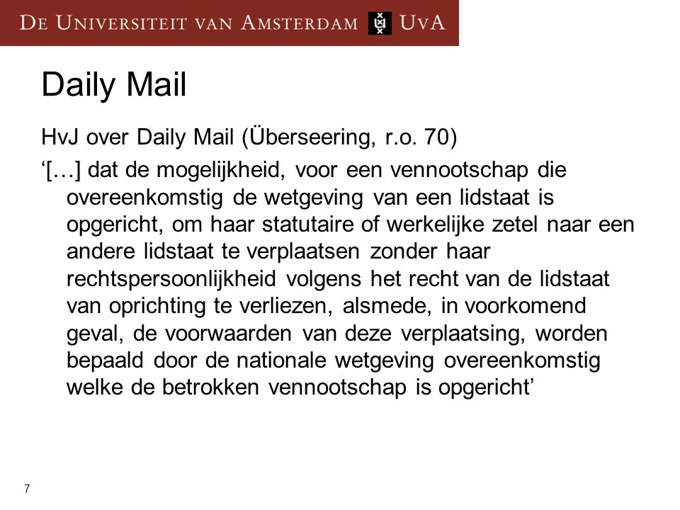 Daily Mail HvJ over Daily Mail (Überseering, r.o. 70)
