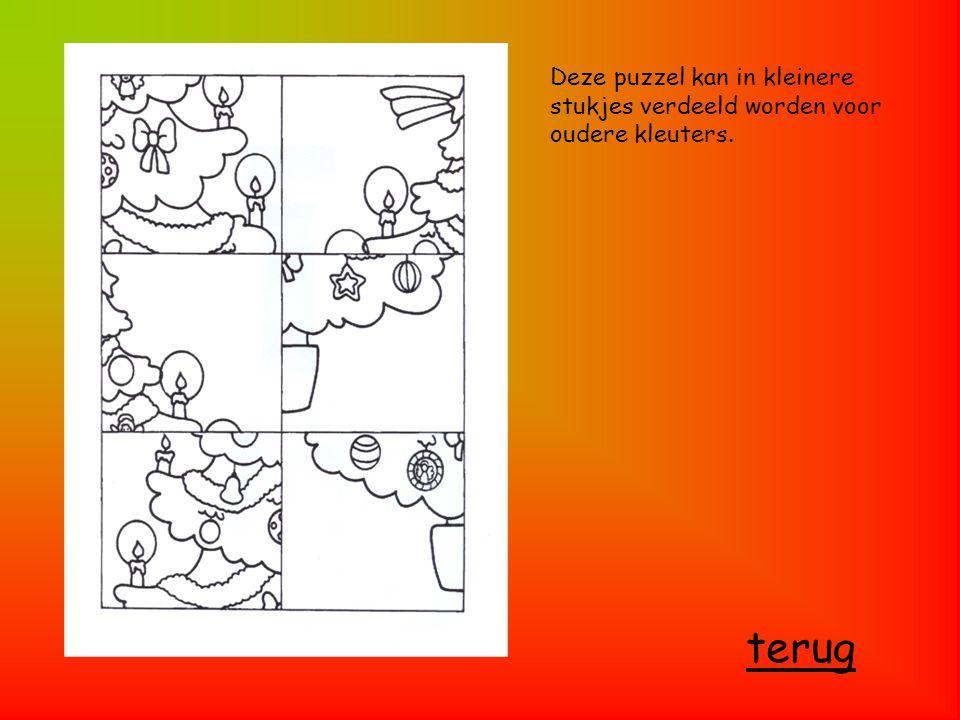 Deze puzzel kan in kleinere stukjes verdeeld worden voor oudere kleuters.