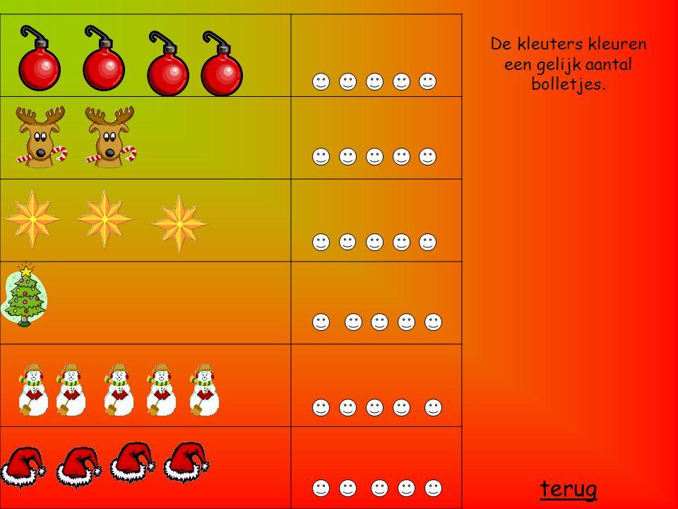 De kleuters kleuren een gelijk aantal bolletjes.