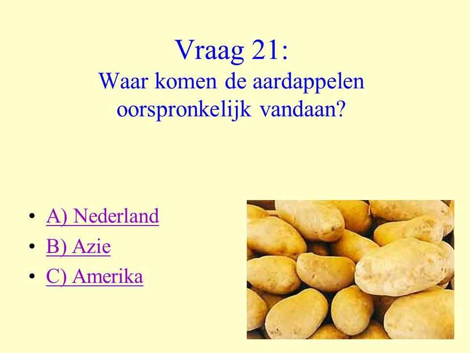 Vraag 21: Waar komen de aardappelen oorspronkelijk vandaan