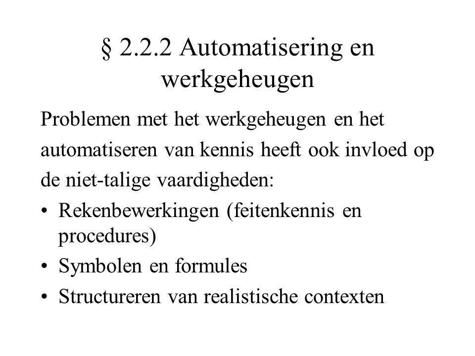 § 2.2.2 Automatisering en werkgeheugen