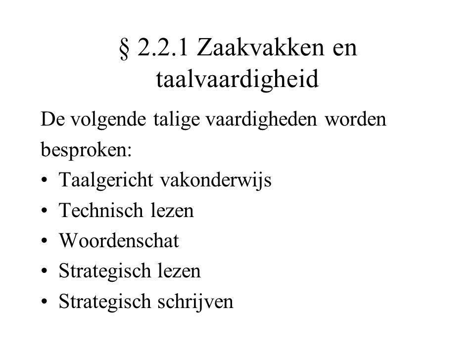 § 2.2.1 Zaakvakken en taalvaardigheid