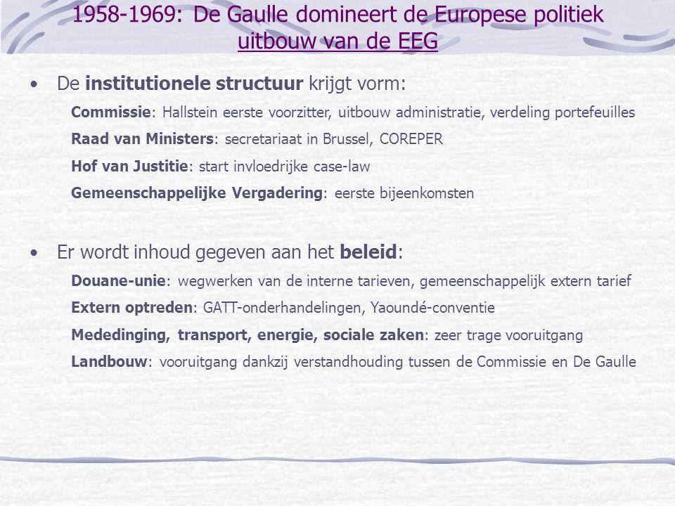 1958-1969: De Gaulle domineert de Europese politiek uitbouw van de EEG