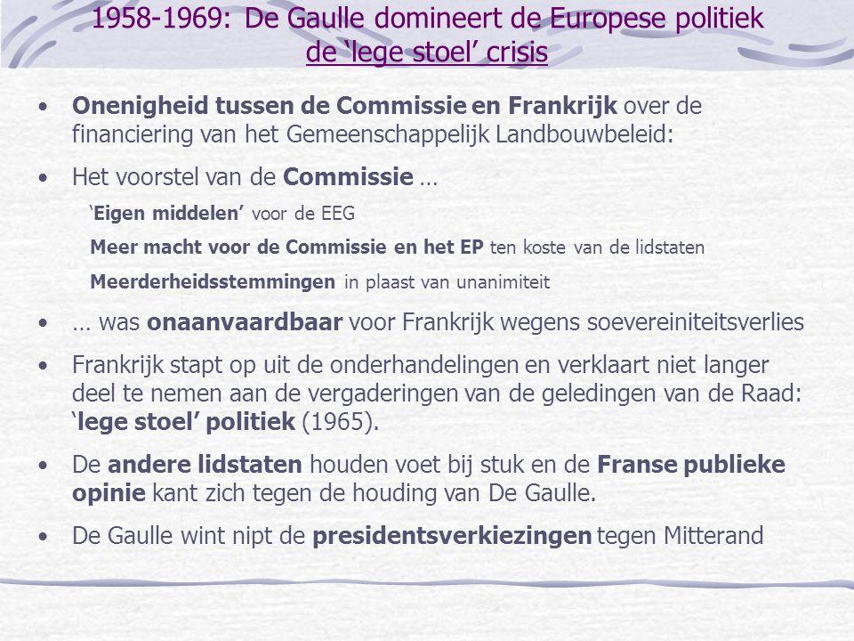 1958-1969: De Gaulle domineert de Europese politiek de 'lege stoel' crisis