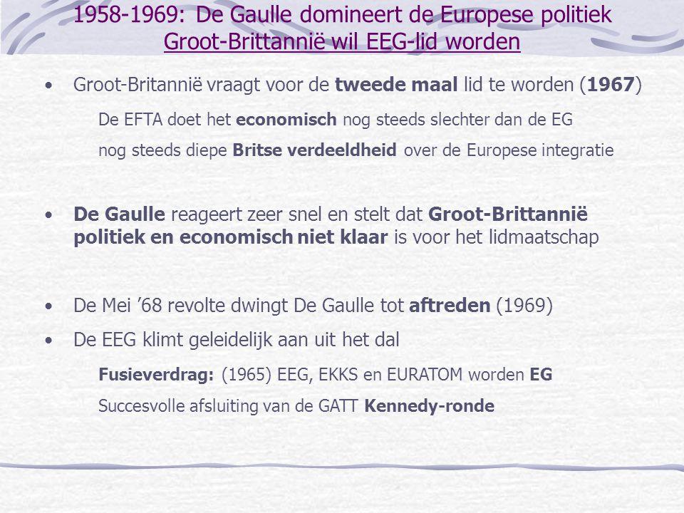 1958-1969: De Gaulle domineert de Europese politiek Groot-Brittannië wil EEG-lid worden