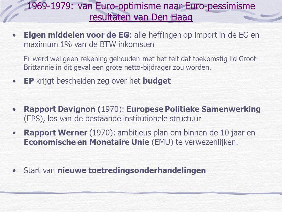 1969-1979: van Euro-optimisme naar Euro-pessimisme resultaten van Den Haag
