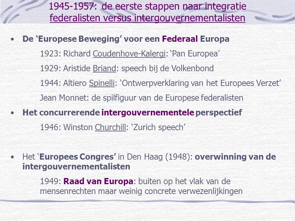 1945-1957: de eerste stappen naar integratie federalisten versus intergouvernementalisten