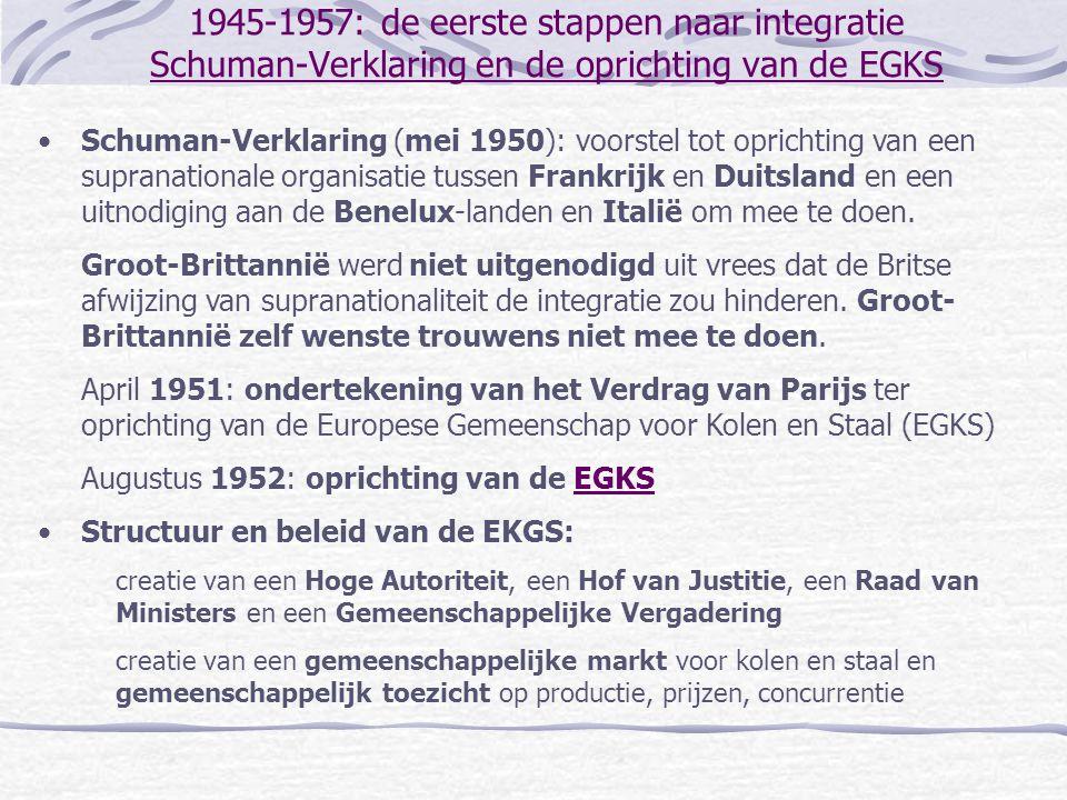1945-1957: de eerste stappen naar integratie Schuman-Verklaring en de oprichting van de EGKS