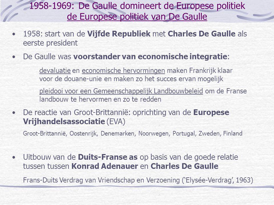 1958-1969: De Gaulle domineert de Europese politiek de Europese politiek van De Gaulle