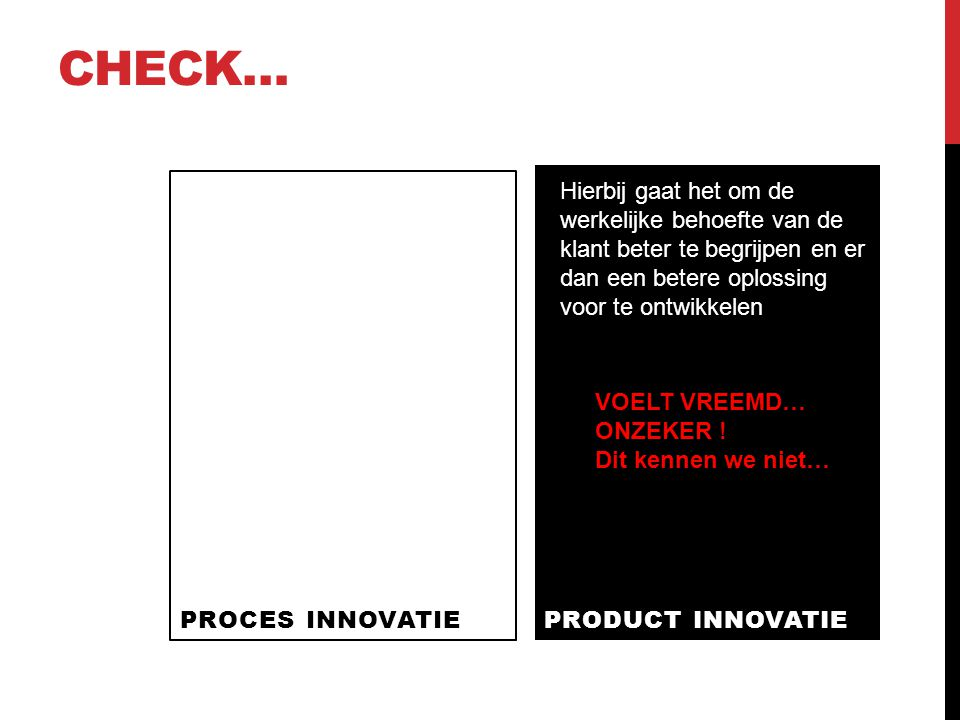 Check… PROCES INNOVATIE. PRODUCT INNOVATIE.