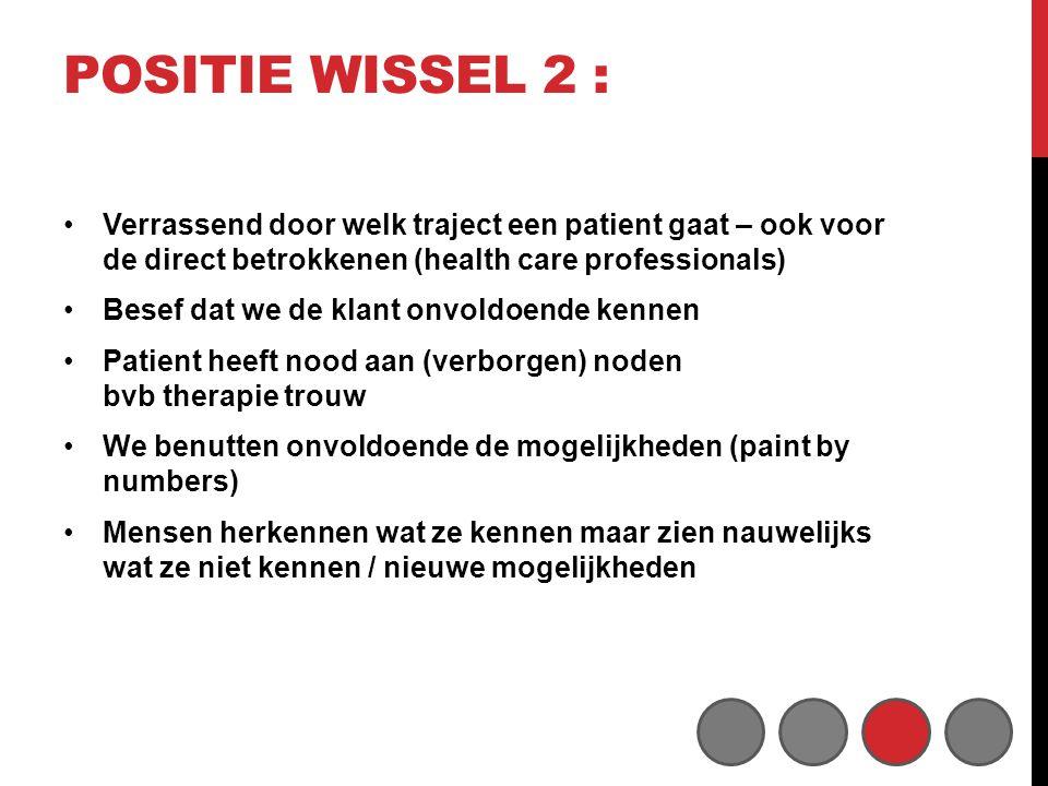 Positie wissel 2 : Verrassend door welk traject een patient gaat – ook voor de direct betrokkenen (health care professionals)