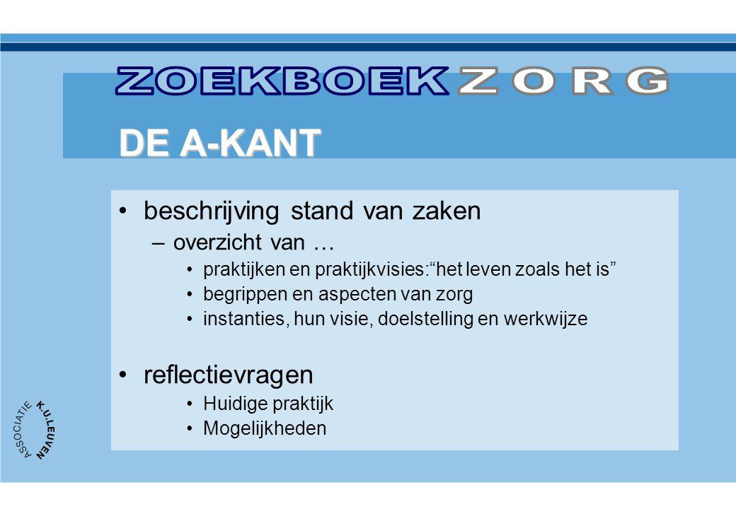 ZOEKBOEK ZORG DE A-KANT beschrijving stand van zaken reflectievragen