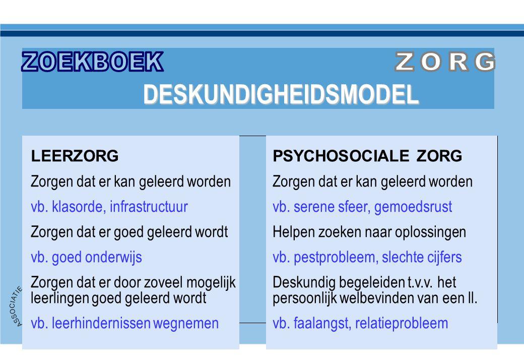 ZOEKBOEK ZORG DESKUNDIGHEIDSMODEL LEERZORG PSYCHOSOCIALE ZORG