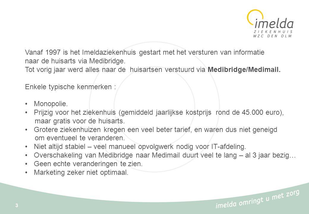 Vanaf 1997 is het Imeldaziekenhuis gestart met het versturen van informatie