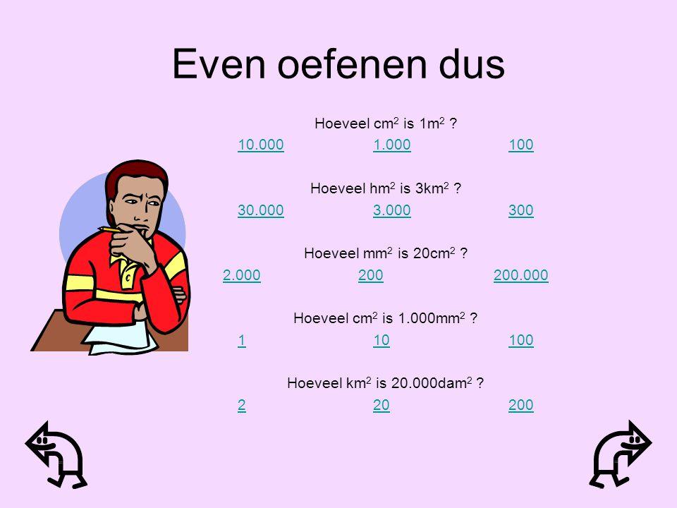 Even oefenen dus Hoeveel cm2 is 1m2 10.000 1.000 100