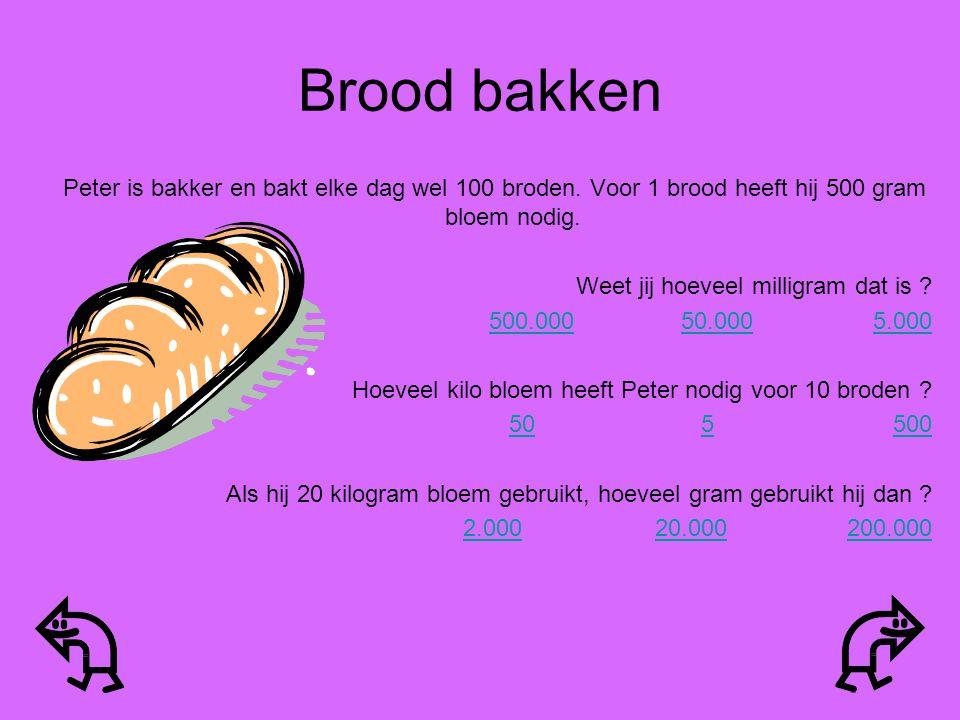 Brood bakken Peter is bakker en bakt elke dag wel 100 broden. Voor 1 brood heeft hij 500 gram bloem nodig.