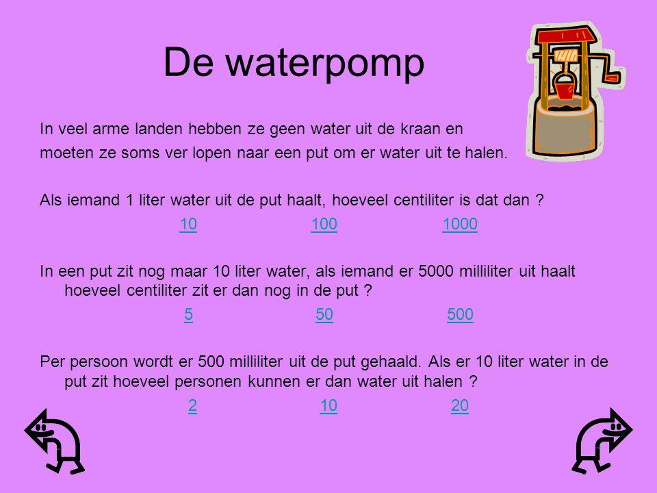 De waterpomp In veel arme landen hebben ze geen water uit de kraan en