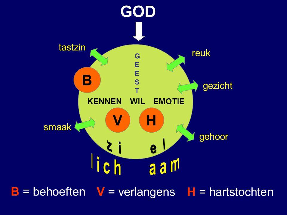 GOD B V H z i e l l i c h a a m B = behoeften V = verlangens