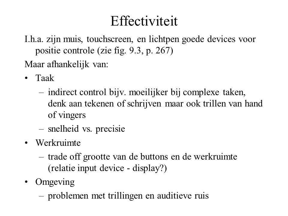 Effectiviteit I.h.a. zijn muis, touchscreen, en lichtpen goede devices voor positie controle (zie fig. 9.3, p. 267)