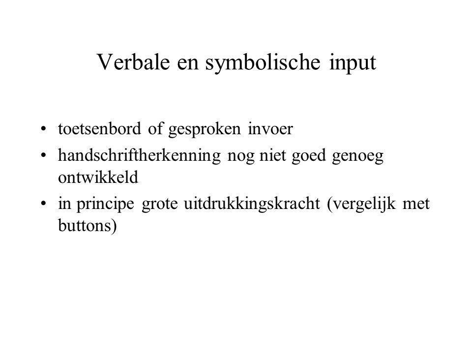 Verbale en symbolische input