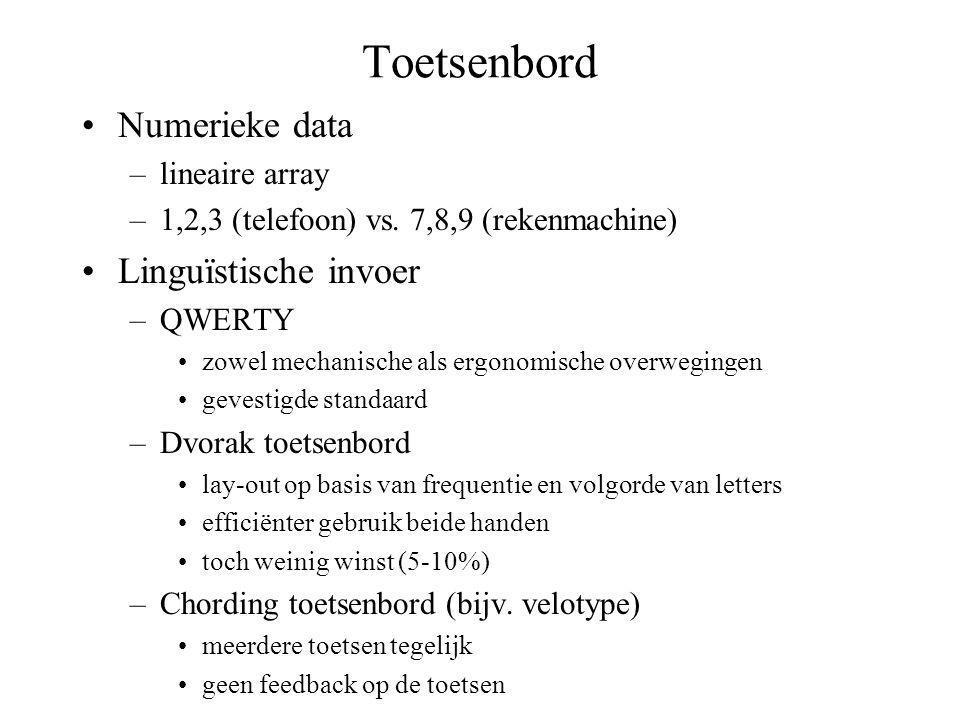 Toetsenbord Numerieke data Linguïstische invoer lineaire array