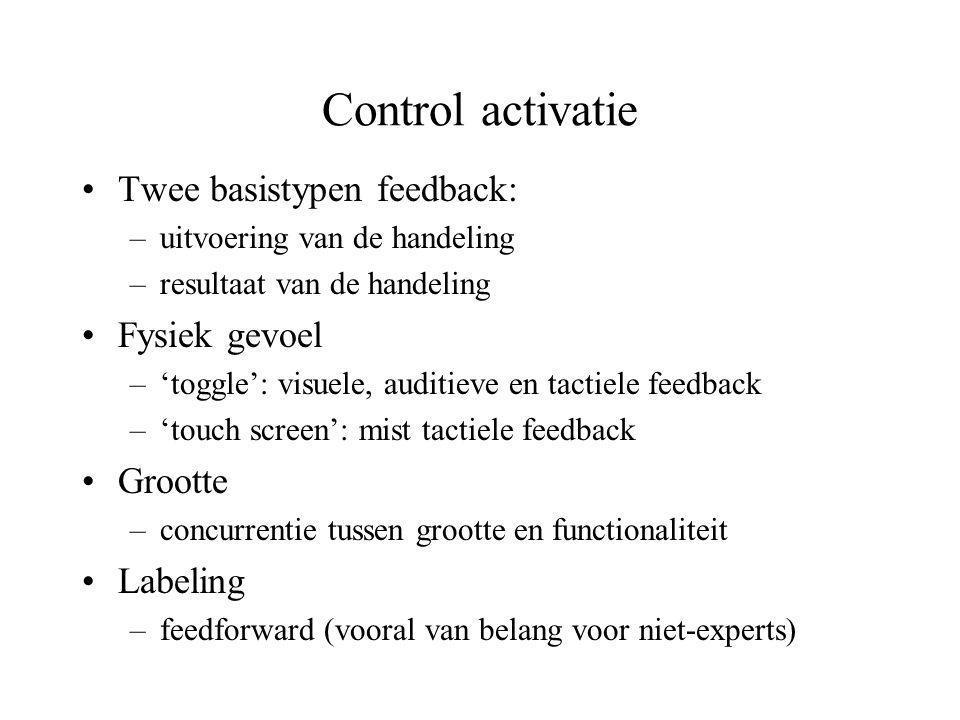 Control activatie Twee basistypen feedback: Fysiek gevoel Grootte