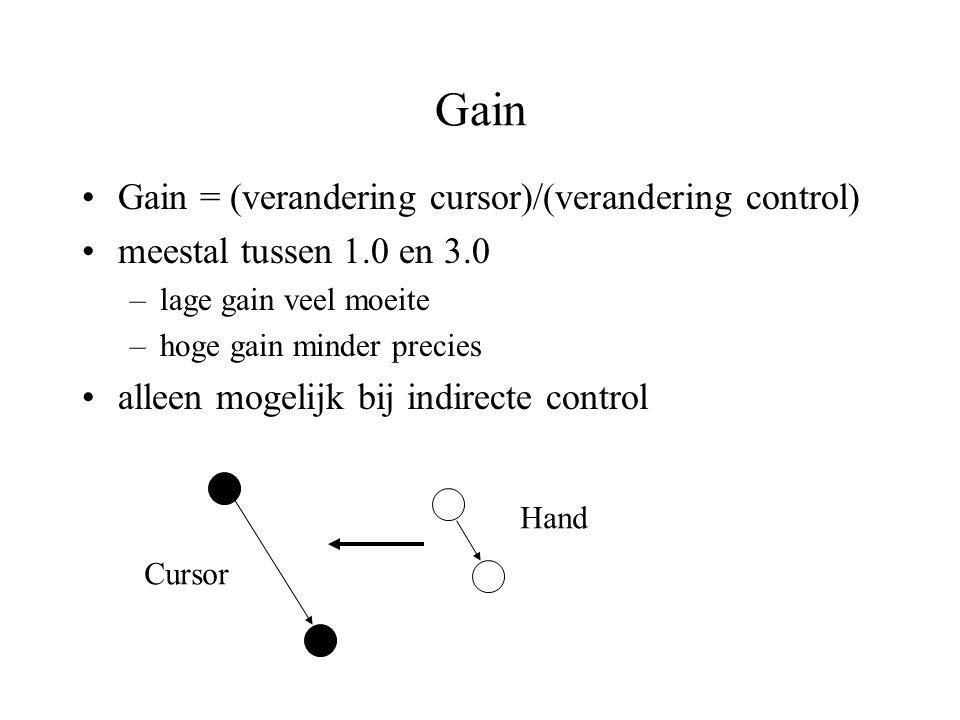 Gain Gain = (verandering cursor)/(verandering control)