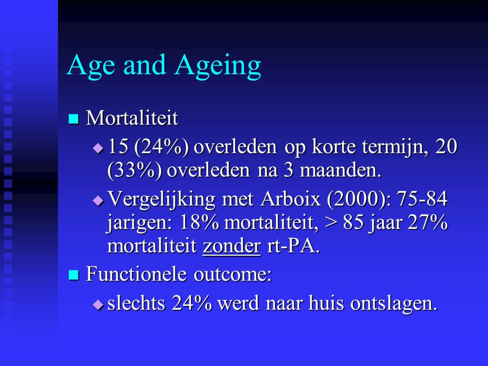 Age and Ageing Mortaliteit