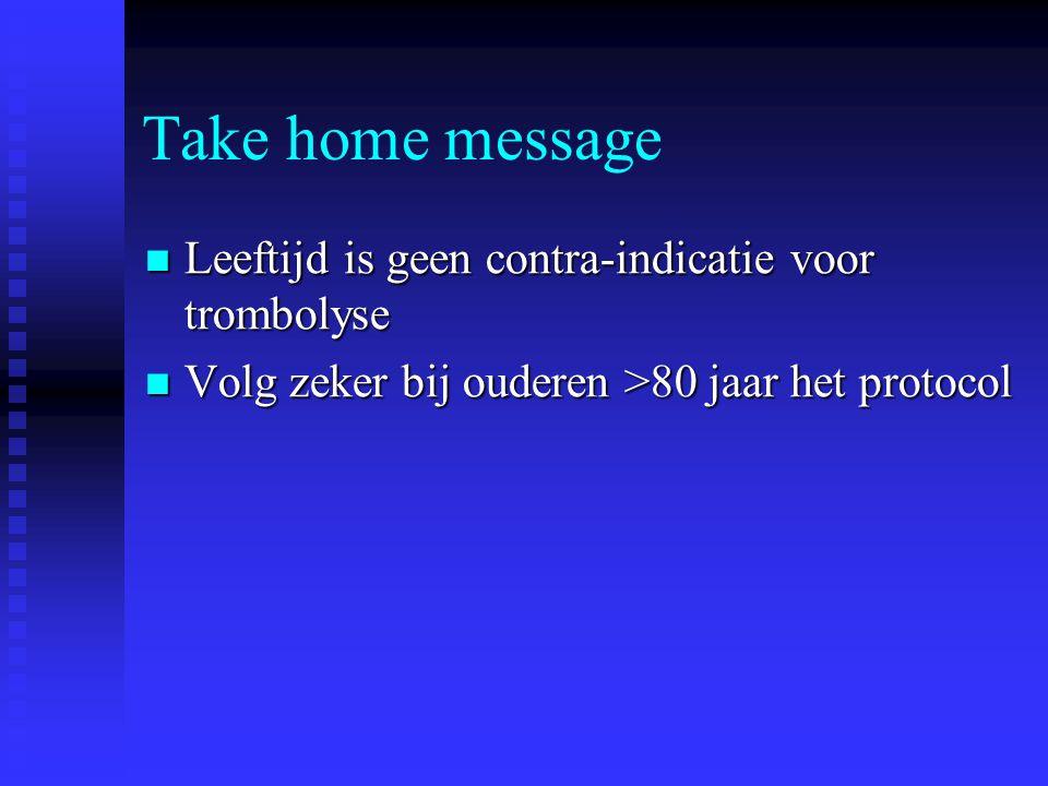 Take home message Leeftijd is geen contra-indicatie voor trombolyse