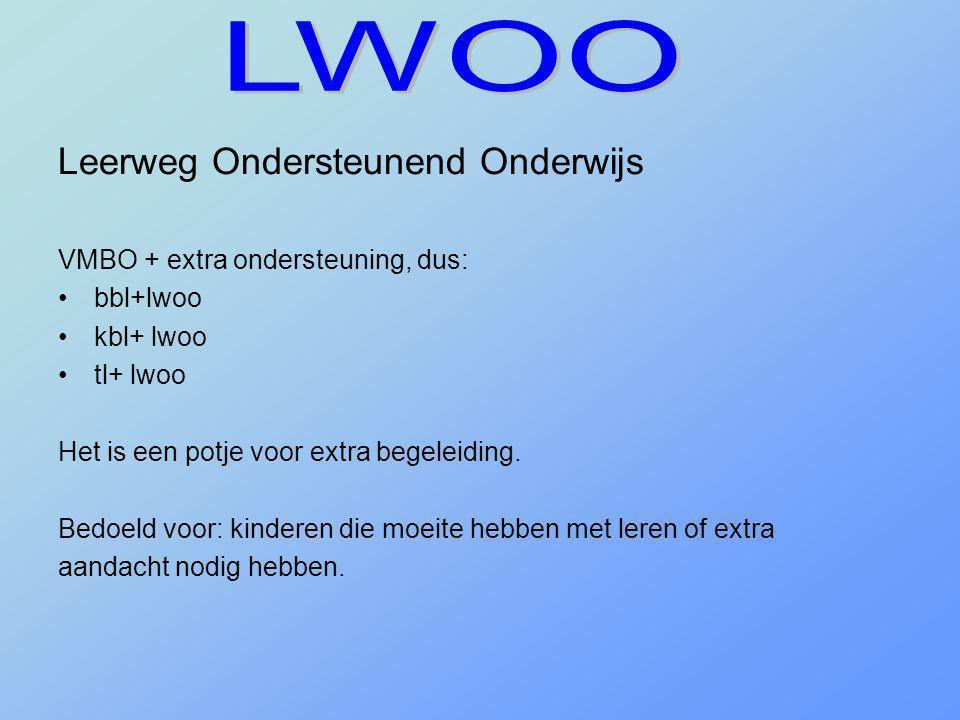 LWOO Leerweg Ondersteunend Onderwijs VMBO + extra ondersteuning, dus: